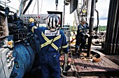 Changing drill strings on a platform at the MegEnergy SAGD oilsands project south of Fort MacMurray in Alberta