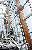 Finishing stages in the main atrium, Caledonian University, Glasgow, UK