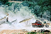 Rock crushing and aggregate sorting and loading plant at the Egnatia road project in Northern Greece