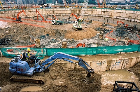 Huge circular excavation within a giant diapragm wall for the Marina Bay Sands casino and hotel comp