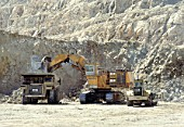 A demag hydraulic loader fills a big Cat truck at a gold mine in Nevada