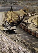 Loading rail wagons. Kennecott Bingham Canyon copper and gold mine, the biggest hole in the world. Salt Lake City, Utah, USA.