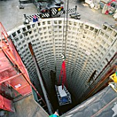 Segmental lined shaft during refurbishment of Angel Underground station. London, United Kingdom.