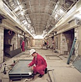 Passenger tunnel during refurbishment of Angel Underground station. London, United Kingdom.