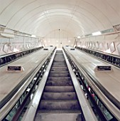 Escalators during refurbishment of Angel Underground station. London, United Kingdom.