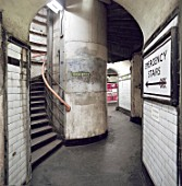 Passenger tunnel in Angel Underground station before refurbishment. London, United Kingdom.