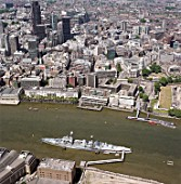 Aerial view of HMS Belfast, River Thames, Tower Hill and Monument area. London, United Kingdom.