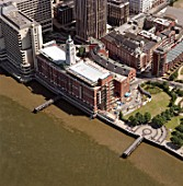 Aerial view of Oxo Tower and River Thames. South Bank, London, United Kingdom.