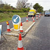 New traffic island and traffic management on the A4251 Hemel Hempstead to Berkhamsted road refurbishment scheme. United Kingdom.