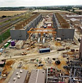 Construction of Little Barford gas-fired power station. Cambridgeshire, United Kingdom.