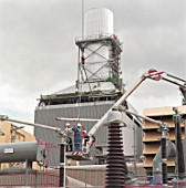 Installing electrical transformer equipment at Little Barford gas-fired power station. Cambridgeshire, United Kingdom.