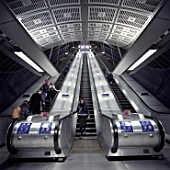 Escalators at London Bridge station on the Jubilee Line Extension. London, United Kingdom.