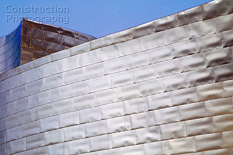 Detail of exterior of Guggenheim Museum Bilbao Spain Designed by Frank O Gehry