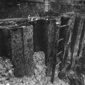 Interlocking steel sheet piles.