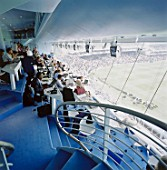 Media centre and match in progress. Lords Cricket Ground. London, United Kingdom.