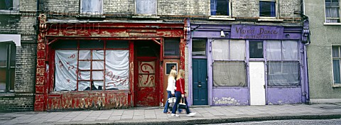 Derelict shop fronts Clapham Common Rectory Grove London United Kingdom