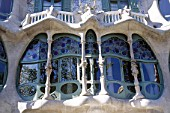 Facade and window detail of Casa Batllo apartment building, designed by Antoni Gaudi. Barcelona, Catalunya, Spain.