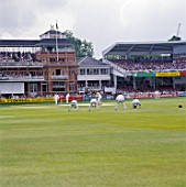 Cricket match in progress. Lords Cricket ground, London, United Kingdom.