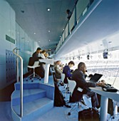 Media centre during match. Lords Cricket Ground. London, United Kingdom.