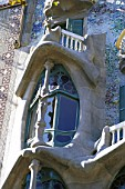 Window detail of Casa Batllo apartment building, designed by Antoni Gaudi. Barcelona, Catalunya, Spain.