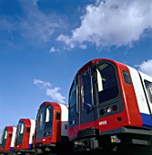 New London Underground trains in sidings. United Kingdom