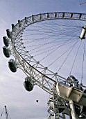 Construction of London Eye, Millennium Wheel. London, United Kingdom. Designed by David Marks and Julia Barfield.