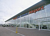 Exterior facade of Liverpool John Lennon Airport Terminal Building. Liverpool, United Kingdom.
