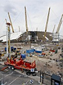 Site compound during construction of the Millennium Dome. London, United Kingdom. Dome designed by Richard Rogers Partnership.