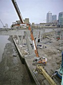 Demolition and dismantling of the reinforced concrete Seacon building. Isle of Dogs, London, United Kingdom.