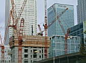 Construction of Heron Quays tower. Canary Wharf Estate commercial development. London Docklands, United Kingdom.