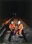 Night testing of new railway lines. Crystal Palace, London, United Kingdom.