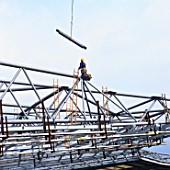 Aluminium structure being assembled off site for the Twickenham rugby ground