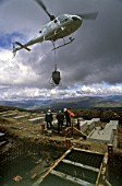 Helicopter delivery in a remote area, Scotland