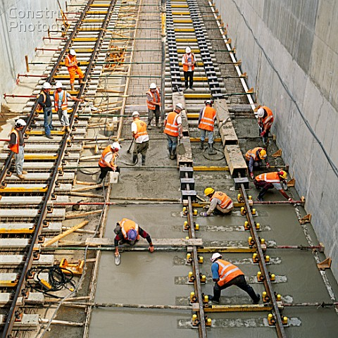 Laying rail tracks on concrete