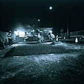Resurfacing motorway at night