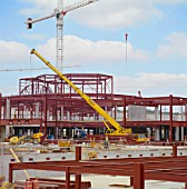Steel frame on construction of Bluewater Shopping Centre, Kent