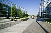 Chiswick Business Park interior, London, UK. Designed by Richard Rogers. Chiswick Business Park is a new sustainable development in West London.