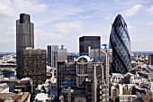 30 St. Mary Axe, The Gherkin Swiss-Re building, Lloyds Building and Tower 42, London, UK
