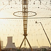 Construction of roof structure of Millennium Dome, Greenwich, London, UK, 1999