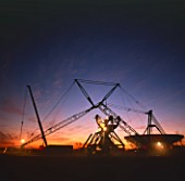 Construction of Mullard Radio Astronomy Observatory, sunrise, Cambridge, England, UK