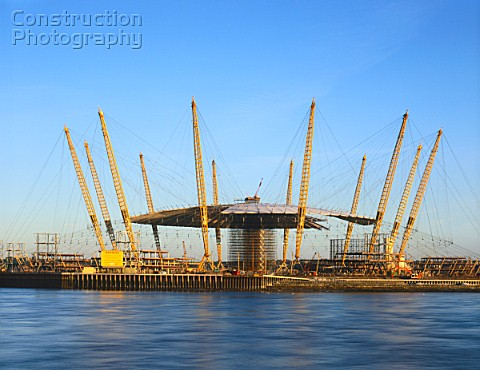Construction of the Millennium Dome Greenwich London UK