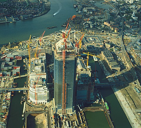 Construction of Canary Wharf Docklands London UK