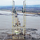 Construction of pylon for Second Severn Crossing between England and Wales, UK