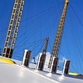 Air-conditioning vents and roof supports from roof of Millennium Dome, Greenwich, London, UK