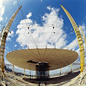 Construction of roof of Millennium Dome, Greenwich, London, UK