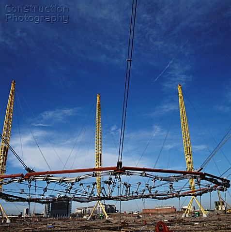 Construction of Millennium Dome roof Greenwich London UK
