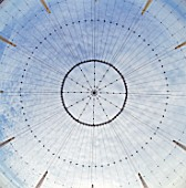 Upward view of roof supports and suspension structure for the Millennium Dome, Greenwich, London, UK