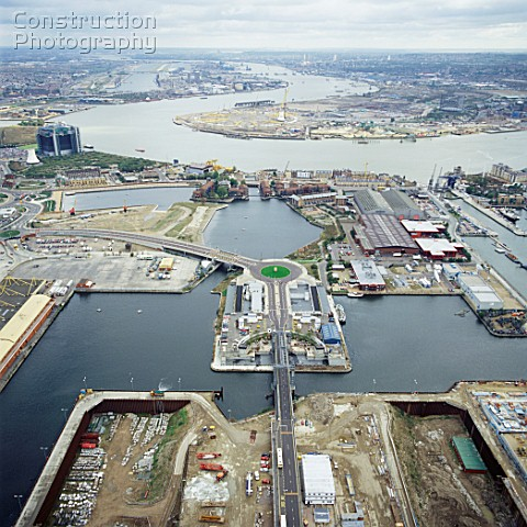 Millennium Dome construction site Greenwich London UK aerial view