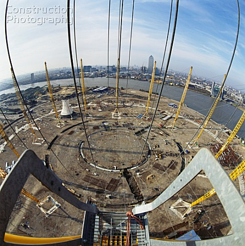 Looking down from crane positioning roof support during construction of the Millennium Dome Greenwic
