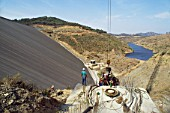 Construction of the Huesna Dam, Andalusia, Spain, 1989
